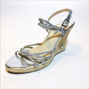 Michael Kors Silver Braided Wedge Heels.Size 8.5